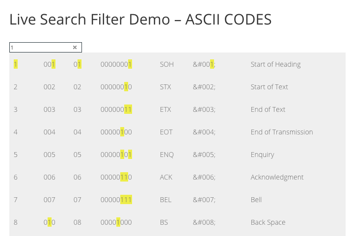 Live Search Filter plugin example