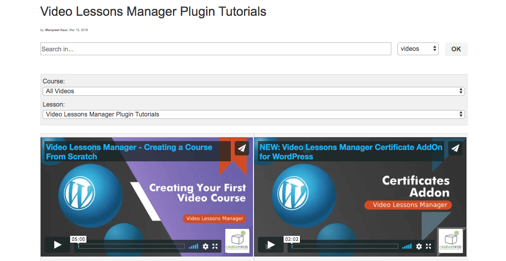 Video Lessons Manager - 5 Best LMS Plugins for WordPress in 2020